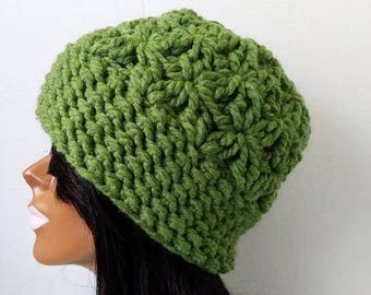 Crochet Hat,  Womens Beanie,  Beanie Hat,  Slouchy Hat ,Colorful Hat,  Green Hat,  Winter Hat,  Wool Blend,  Warm Hat  Slouchy Beanie
