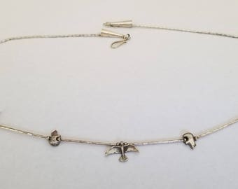 Zuni Fetish Sterling Silver Necklace with Dove, bird, bear