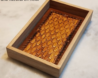 Red Oak Mini Dice Tray with Tooled Leather