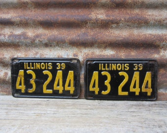Vintage License Plate Illinois 1939 Matched set of 2 Black & Yellow 1930s Era Car Truck Automobile Rusted and Naturally Distressed Man Cave