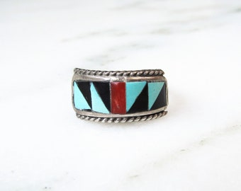 Estate Zuni Sterling Silver Multi Stone Inlay Ring