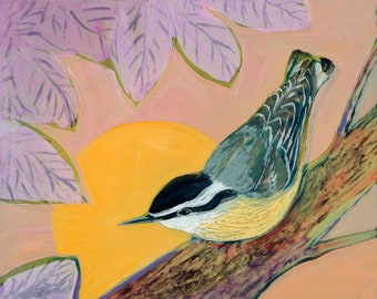 Evening Nuthatch - Card and Poster Art Bird Print by Jenlo