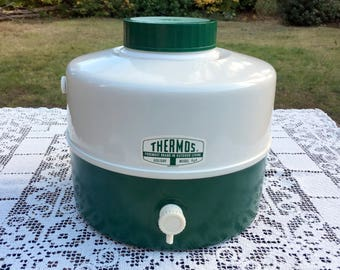 Thermos Picnic Jug/Green & White 2 Tone/Holiday Model/THERMOS Picnic Jug/Tailgate Party Cooler/1 Gal Camping Cooler/NEW Never Used