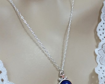 Lapis Lazuli Gemstone Necklace, Afghanistan Lapis Necklace, 12mm Lapis Gemstone, Lapis Pendant in Sterling Silver, Blue Gemstone Necklace