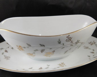 Noritake Andrea 5524 Pattern Gravy Boat with Attached Underplate