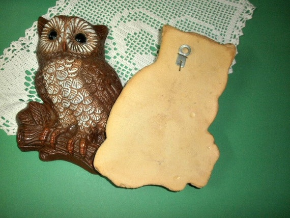 2 Vintage Owls 3D Foam Resin Wall Hangings Owl Home Decor