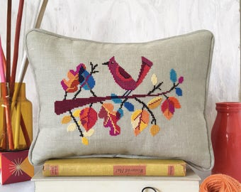 Autumn Bird - printed version - Satsuma Street modern cross stitch pattern