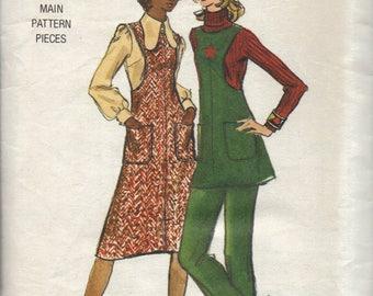 Vintage Womens Jumper Tunic and Pants Pattern, Long Jumper, Short Pattern, Oval Neckline, Patch Pockets, Straight Leg Pants, Size 14