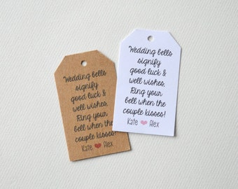 Wedding Bell Kiss Custom Wedding Favor & Gift Tags - White Matte or Kraft Brown Small Label Tags