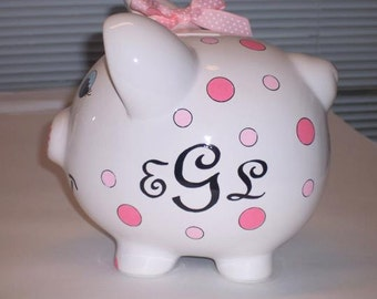 Child's Personalized Piggy Bank with Name or Monogram in Pinks