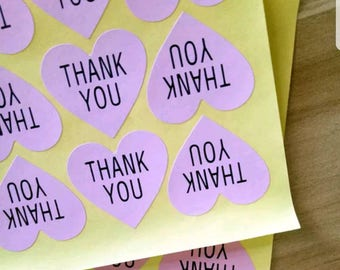 60pcs Pink Heart Thank You Sticker - Envelope seals, Mini Stickers, Wedding favors, Thank you labels