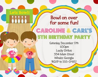 Twin Bowling Birthday Invite, sibling invite, sibling party, bowling invitation, bowling birthday, bowling printable, bowling -Digital File