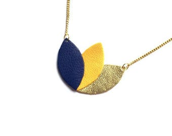 Necklace leather and gold chain, Royal Blue, mustard yellow and gold, lotus flower