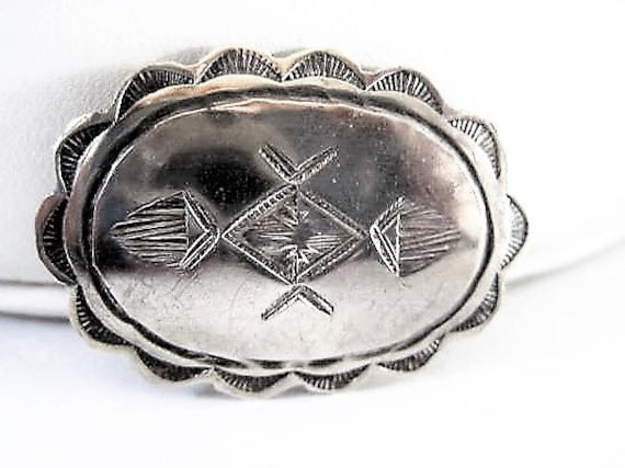 Native American Brooch, Sterling Concho,  Stamped Symbols, Southwestern Concho Pin