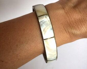 """Vintage Mother of Pearl Bangle/ Boho Shell Bracelet/ 2 5/8"""" diameter 9/10"""" wide"""