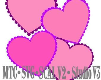 SVG Cut File Scallop Hearts Set #01 Cameo Silhouette SCAL Cricut MTC Cutting Files Instant Download