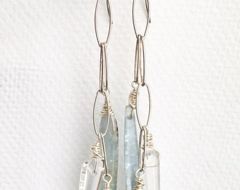 Kyanite Chain Earrings Sterling Silver