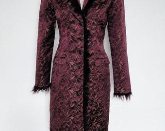 Vintage VTG Maroon BETSEY JOHNSON Floral Brocade Faux Fur Trimmed Coat Jacket S!