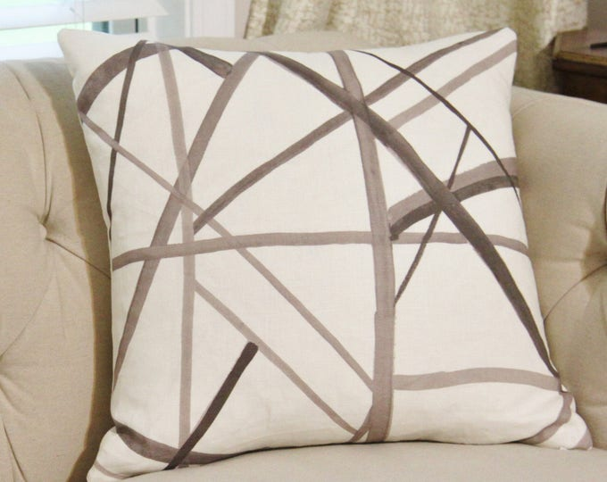 Kelly Wearstler Channels Pillow Cover - Taupe Ivory - Brown & Off White Pillow Cover - Geometric - Neutral