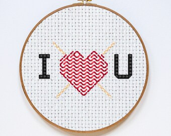 I Love You Stitch Pattern, Valentine's Day Cross Stitch Chart, Teddy Bear Fast Easy Cross Stitch Gift, PDF Format, Instant Download