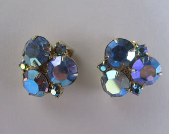 Vintage Aurora Borealis AB Rhinestone Clip On Earrings, prong set