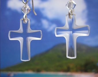 Swarovski Clear Frosted Cross Sterling Silver Charm Earrings