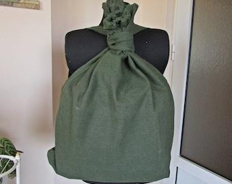 Vintage Green Canvas Backpack '90s, Military Canvas Backpack, Army Canvas Rucksack, Soldiers Backpack, Soviet Kitbag, Cold War Haversack