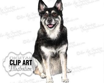Husky Dog Clip Art | Dog Breed Color Illustration | Dog Clipart Digital Download | Animal Art | Digital Scrapbooking | Scrapbook Supplies