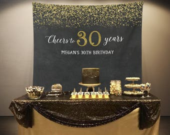 Cheers to 30 Years Banner, 30th 50th Birthday Party Photo Backdrop Decorations, Gold and Black Anniversary Photo Booth Prop, Adult Birthday