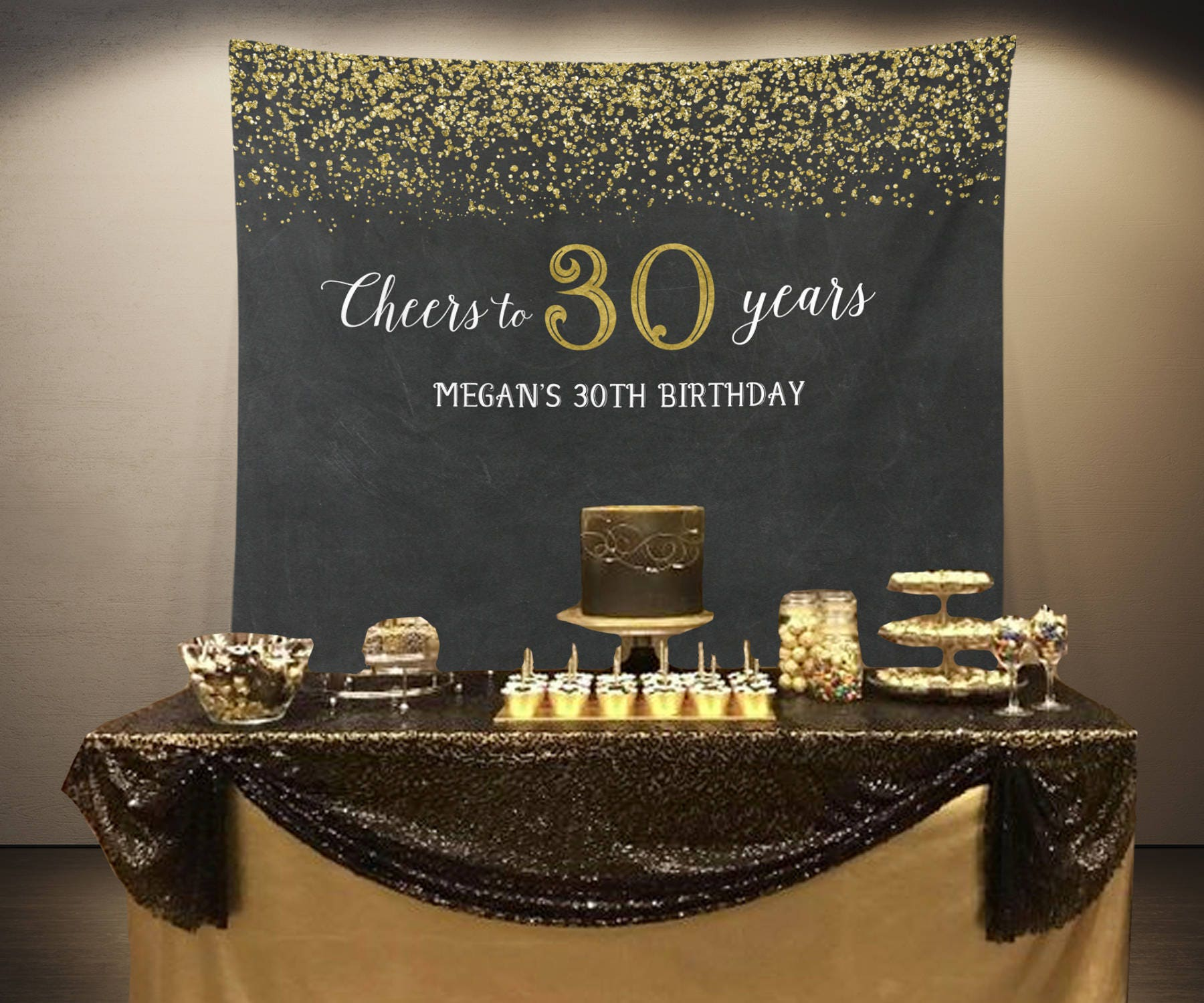 Cheers To 30 Years Banner 30th 50th Birthday Party Photo