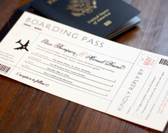 Items Similar To Vintage Hot Air Balloon Boarding Pass Bridal - Boarding pass wedding invitation template