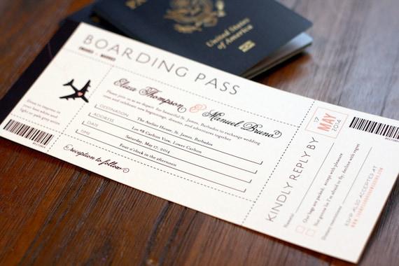 Boarding Pass Wedding Invitation Destination Wedding