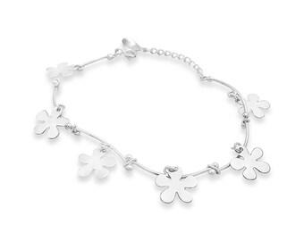 Flower Bracelet - Flower Silver Bracelet - Silver Charm Bracelet - Floral Bracelet - Flower Charm Silver - Charm Jewellery