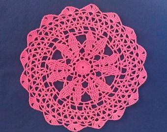 Handmade 21 cm, rose, made with fine cotton crochet doily