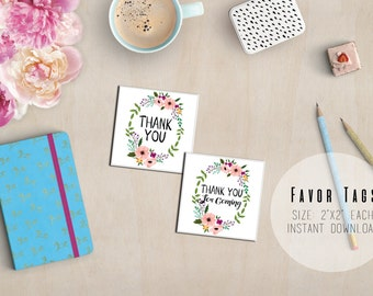 SALE Floral Wreath Printable Thank You Favor Tags - Baby Shower Favor Tags - Birthday Favor Tags - Engagement Favor Tags - Instant Download