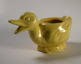 Vintage Ceramic Yellow Duck Planter or Vase