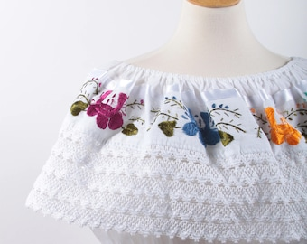 Off Shoulder, Summer Dress, Vintage, White, Lace, Embroidered, Colorful, Flowers, Light, Elastic Waist, Mid Length, Mexican ~ 170122