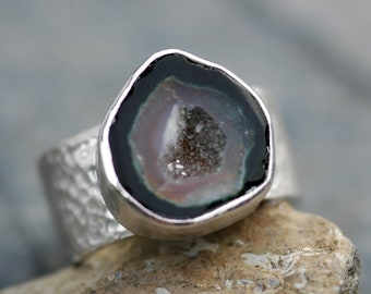 Geode and Sterling Silver Ring- Ready to Ship Band, Fits Size 7- 7 1/4 Finger