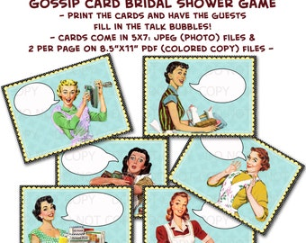 Printable 1950's Retro Housewife Gossip Girls Bridal Shower Game Cards - Set of 6 designs