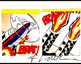 ROY LICHTENSTEIN - 'As I opened fire' - hand signed vintage print - c1992 (Andy Warhol, Pop art interest)