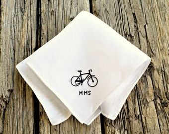 Tiny Bicycle Hand Embroidered Handkerchief,Gift for Cyclist, Bike  Handkerchief, Personalized Hankerchief,