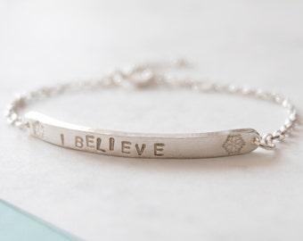 I Believe Snowflake Children's Bracelet - Christmas - Magic - Winter - Snow - Santa - Personalised Child's Bracelet - Contemporary Bracelet