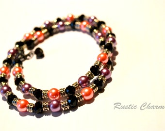 Pink and Purple Glass Pearls and Black Crystal Necklace