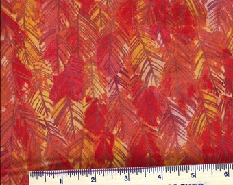OCTOBER LEAVES - from Clothworks Fall Feast Y1936-37 Dark Orange - Orange-Yellow-Gold Blender - Quilt Shop Quality 100% Cotton BTY