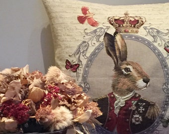 Rabbit Pillow Cover - Hare Pillowcase - Rabbit Portrait Throw Pillow - Rabbit Lover Gift - 18x18 Belgian Tapestry Cusion Cover