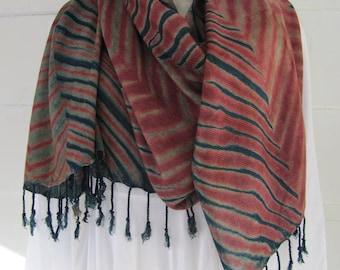 Hand-dyed, indigo over MX dye, pleated arashi shibori, handwoven rayon scarf with fringe, 26 x 76 inches