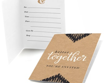 Better Together - Party Fill In Invitations -  Bridal Shower Invitations - Party Invites - Set of 8 Folding Note Cards w/Envelopes