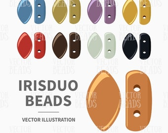 Vector Clip art Pack of IrisDuo 2-Hole Beads - Instant Download