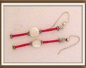 Handmade MWL long dangle mother of pearl and red tube bead earrings. 0028
