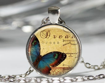 Butterfly Necklace, Inspirational Insect Jewelry, Inspiration Butterfly Pendant [A30]